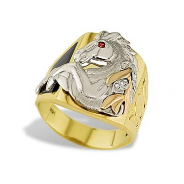 14k Tri Color Gold Horse Mustang Stallion CZ Onyx Ring Mens Jewelry