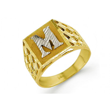 New 14k Two Tone Gold Diamond Cut Letter M Initial Ring