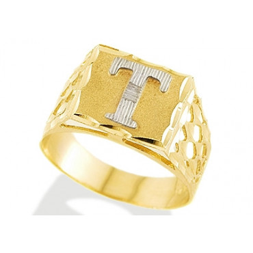 New 14k Two Tone Gold Diamond Cut Letter T Initial Ring