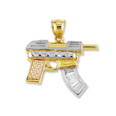14k white rose solid gold cz mp5 submachine gun pendant mens 14k white rose solid gold cz mp5 submachine gun pendant mens pendants mens jewelry aloadofball Image collections
