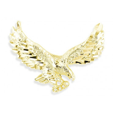 Mens 14k yellow gold diamond cut flying eagle pendant aloadofball Images