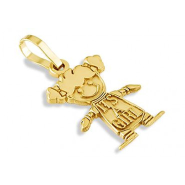 Solid 14k yellow gold child its a girl baby pendant fashion here aloadofball Gallery