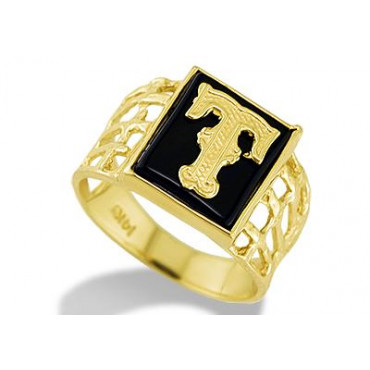 14k Yellow Gold Letter T Initial Black yx Mens Ring