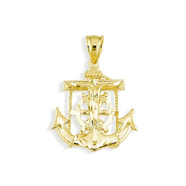 14k yellow gold anchor crucifix captains wheel pendant mens 14k yellow gold anchor crucifix captains wheel pendant mens pendants mens jewelry aloadofball Gallery