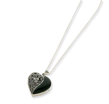 925 sterling silver black onyx marcasite heart necklace gemstone 925 sterling silver black onyx marcasite heart necklace aloadofball Choice Image