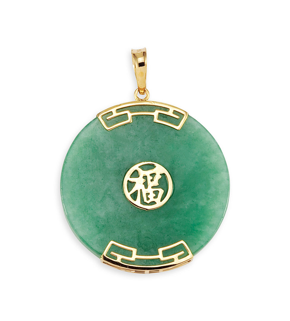 14k yellow gold round light green jade chinese pendant pendants exquisite aloadofball Images