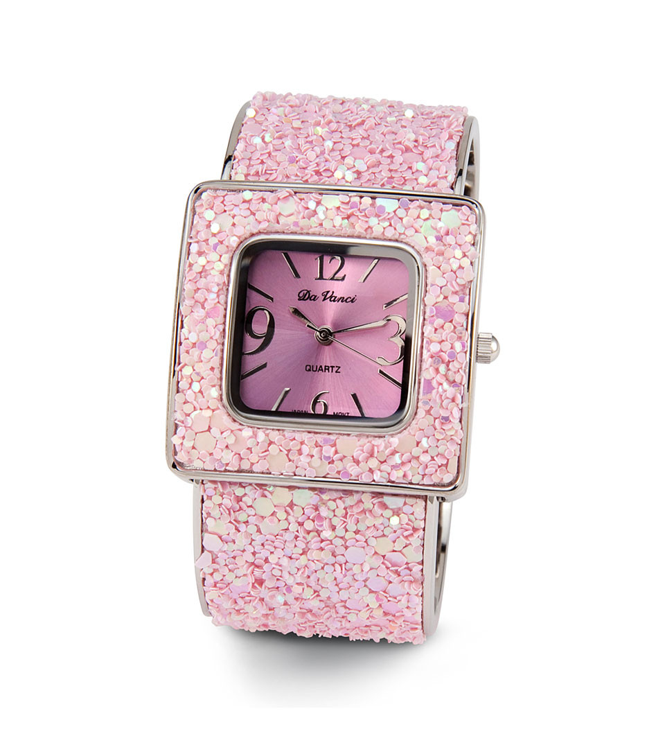 Ladies silver tone pink glitter bangle bracelet watch watches for Ladies bangle watch