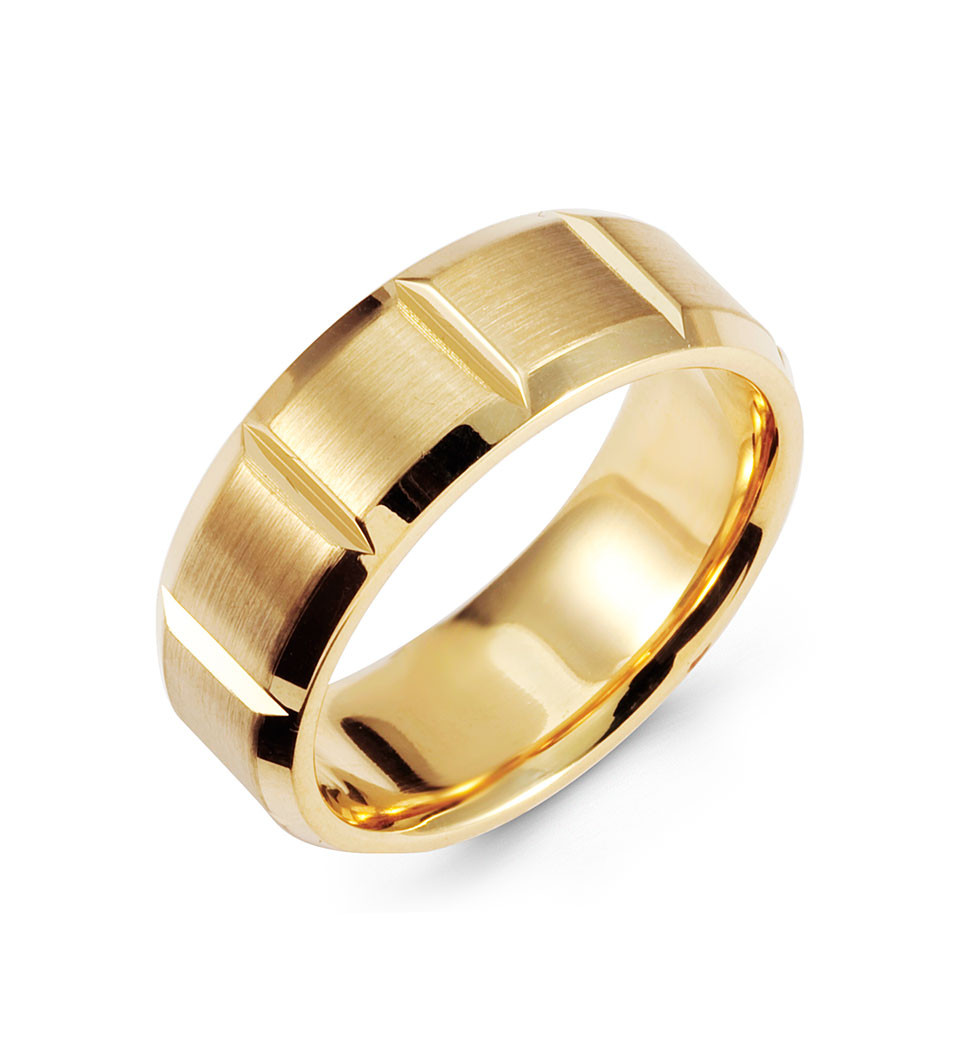 14k yellow gold wedding band brushed polished ring for What is gold polished jewelry