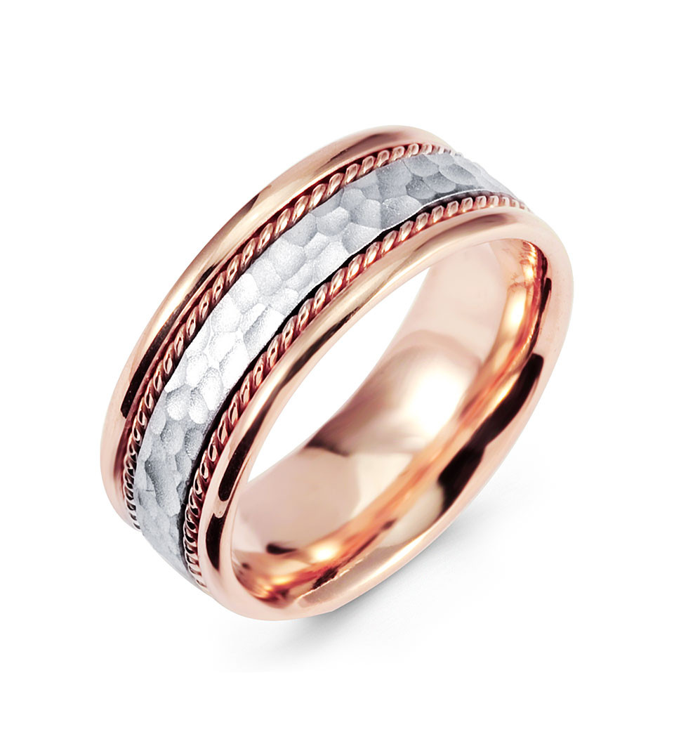Hammered 14k White Rose Gold Milgrain Wedding Band Ring