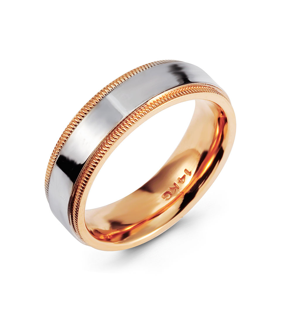 Two Tone Modern Ring 14k White Rose Gold Wedding Band Wedding