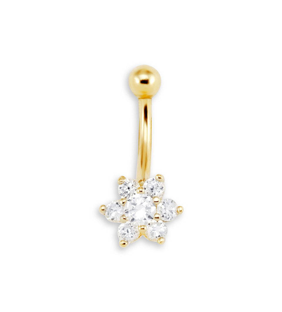 New 16g CZ Flower 14k Yellow Gold Belly Button Ring Belly Button