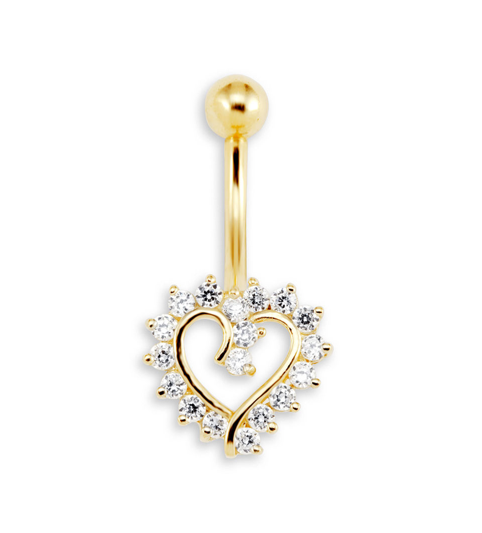 New 14g CZ Heart 14k Yellow Gold Belly Button Ring Belly Button