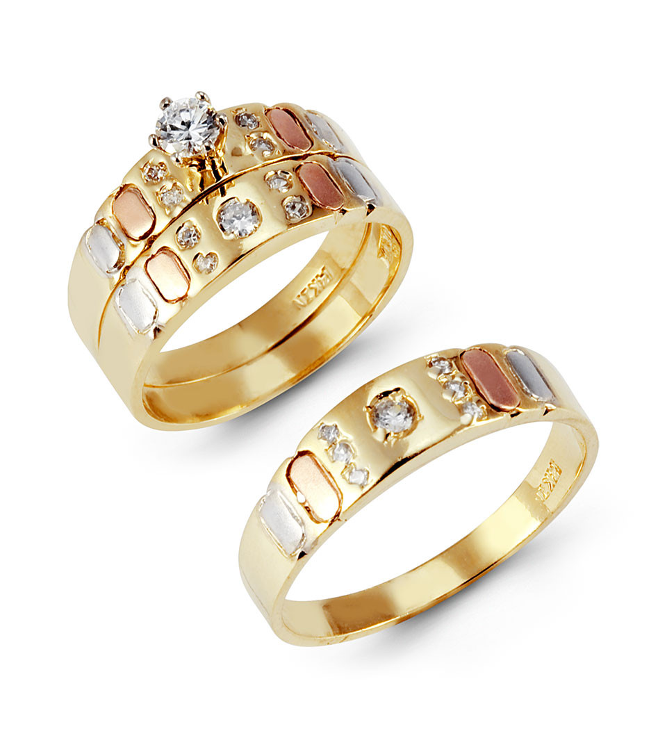 14k Tri Tone Gold Cubic Zirconia Wedding Rings Trio Set Trio Sets