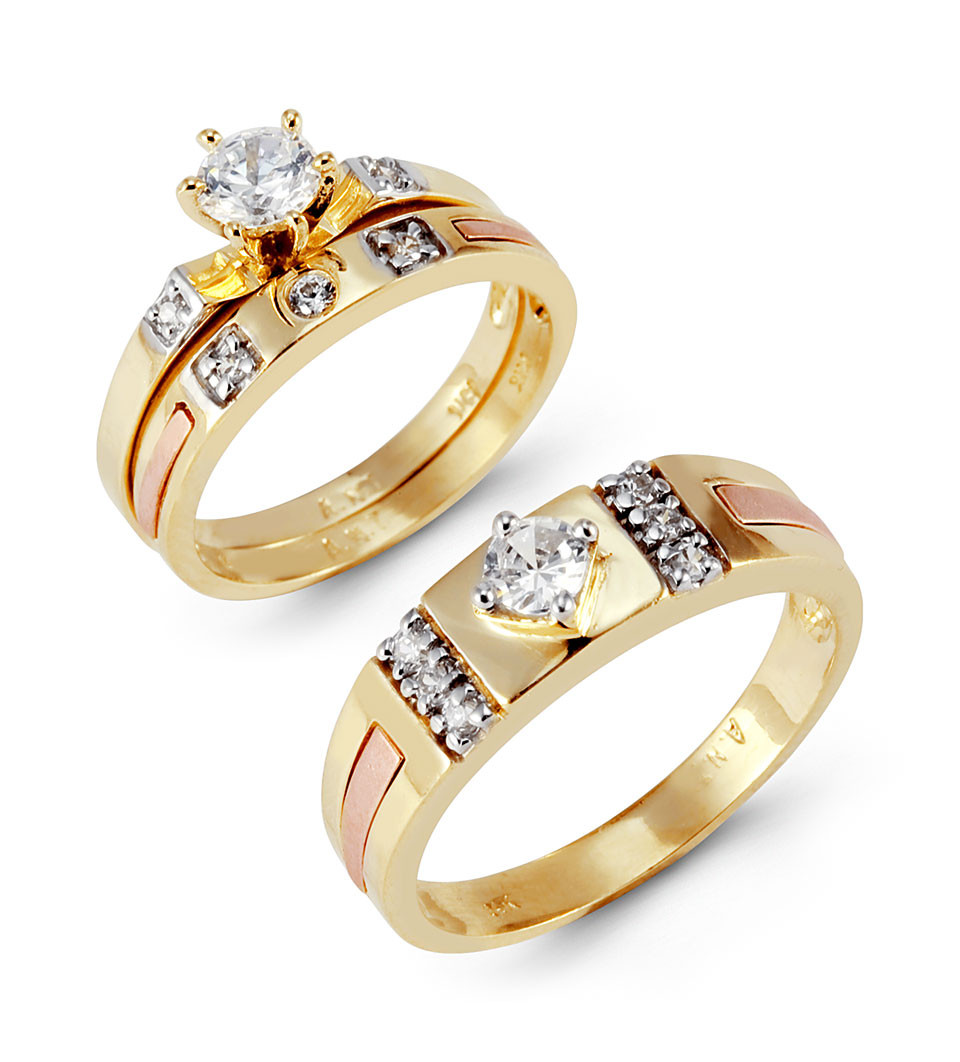 14k Solid Tri Color Gold Round Princess Wedding Rings