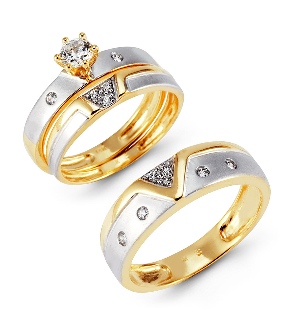 Two Tone 14k Gold CZ Cluster Solitaire Wedding Ring Set Trio Sets