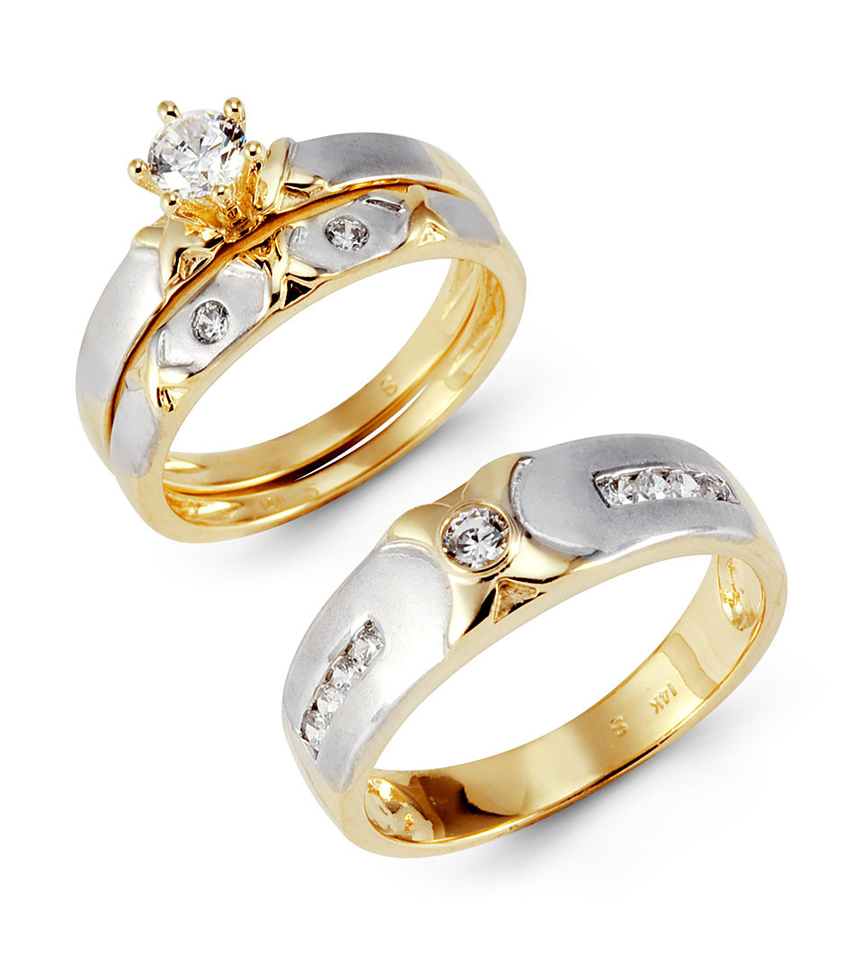 14k solid white yellow gold xo cz wedding rings trio for Wedding ring sets white gold