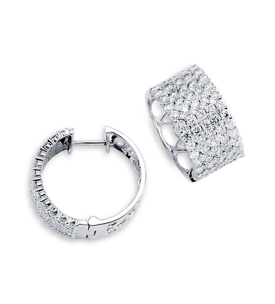 Sparkling To The Light These 14k White Gold 2 80 Ct Round Diamond Hoop Earrings