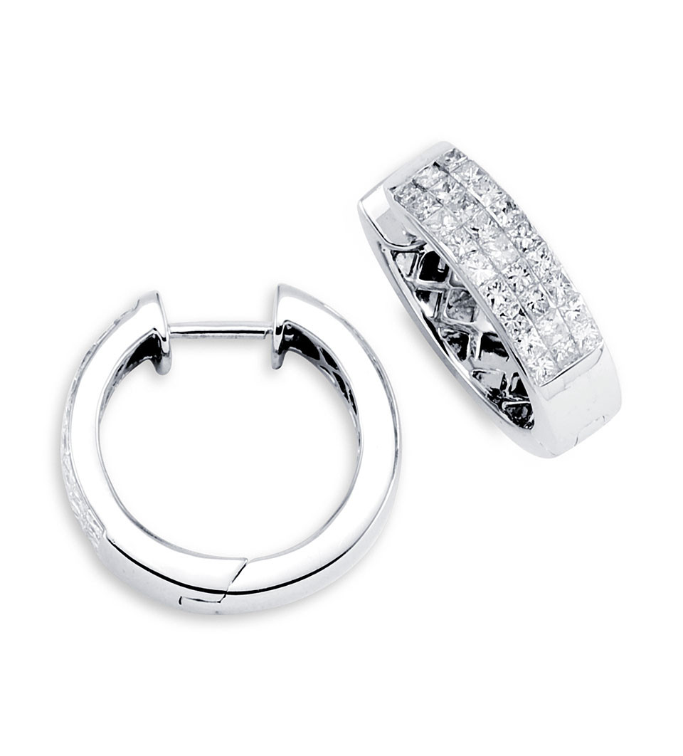 Solid 18k White Gold Hoops Princess Diamond Earrings