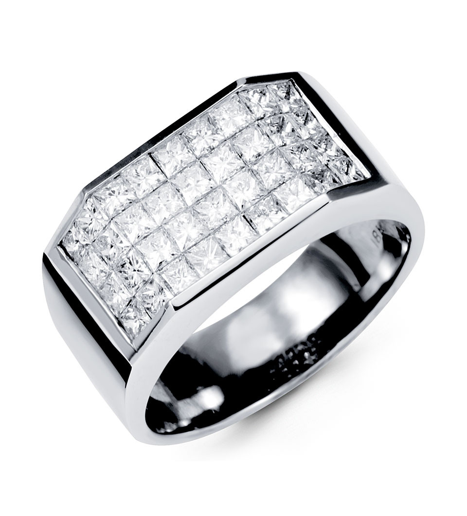 Men's Diamond Fashion Rings Rows of real princess diamonds