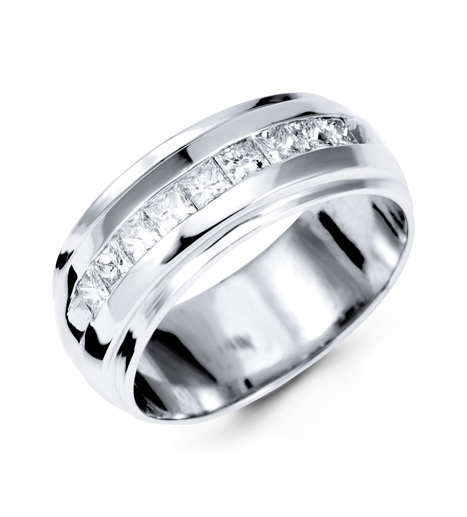 14K White Gold Mens Polished New Princess Diamond Ring Wedding