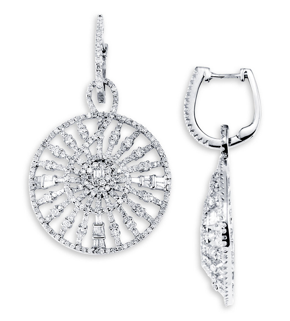 baguette diamonds earrings 18k white gold dangle baguette earrings 7839