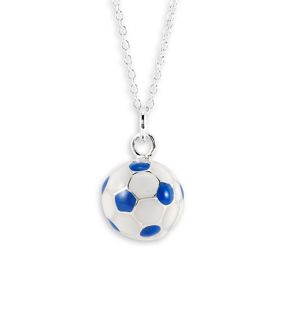 Blue white 925 sterling silver soccer ball necklace sports bring your love of soccer mozeypictures Image collections