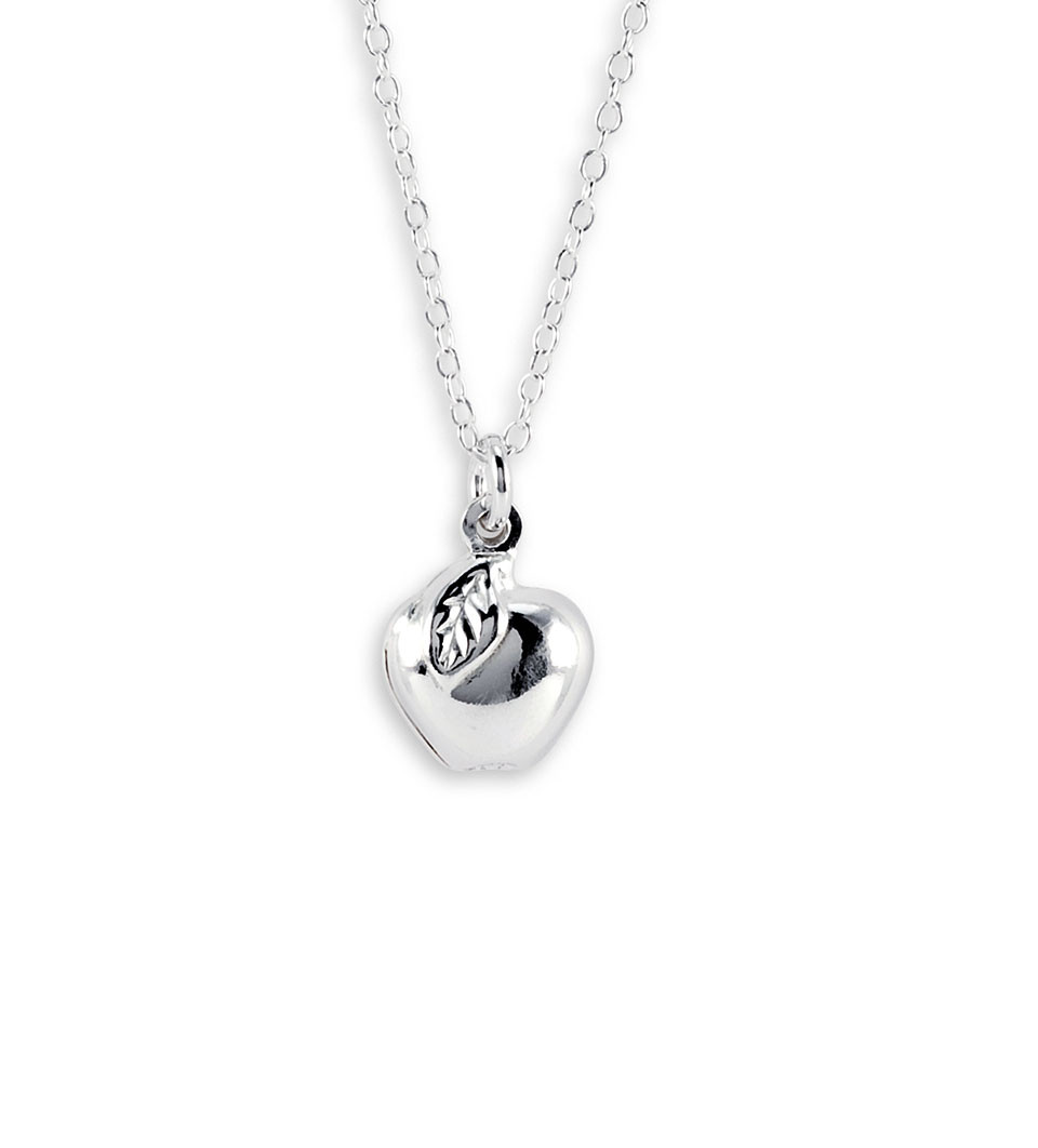 New 925 sterling silver chain apple pendant necklace childrens wear mozeypictures Image collections