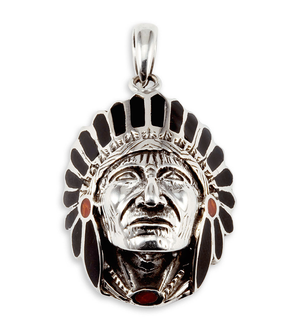 Red Chandelier India: 925 Silver Black Onyx Red Agate American Indian Pendant