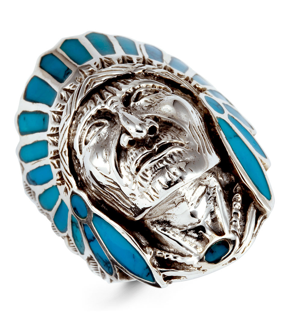 Very Turquoise 925 Silver Native American Indian Head Ring - Men's  CX83