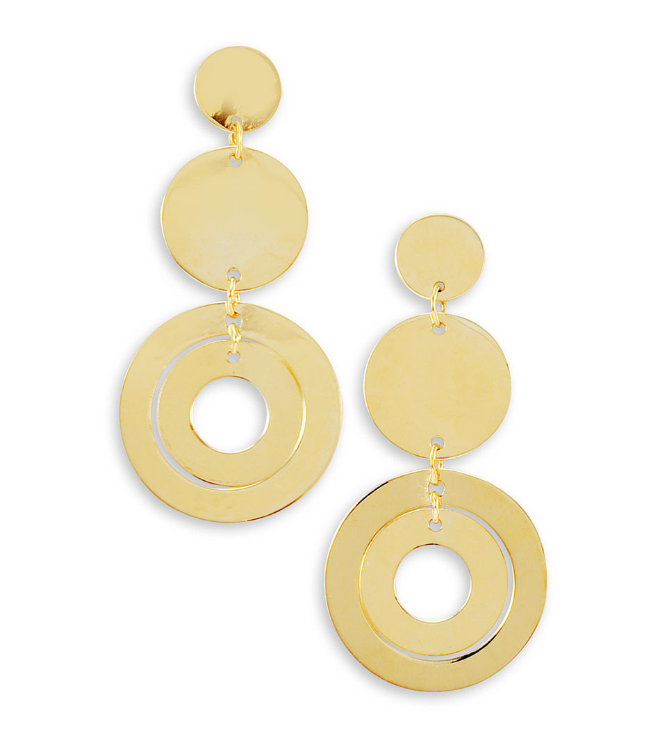 14k Bonded Gold Round Cut Out Circle Dangle Earrings