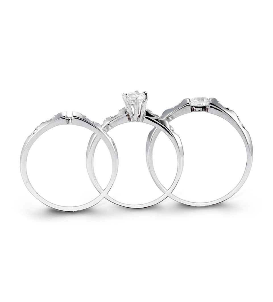 Pure 14k Gold Teardrop Channel CZ Wedding Rings Set Trio Sets Bridal Jewelry