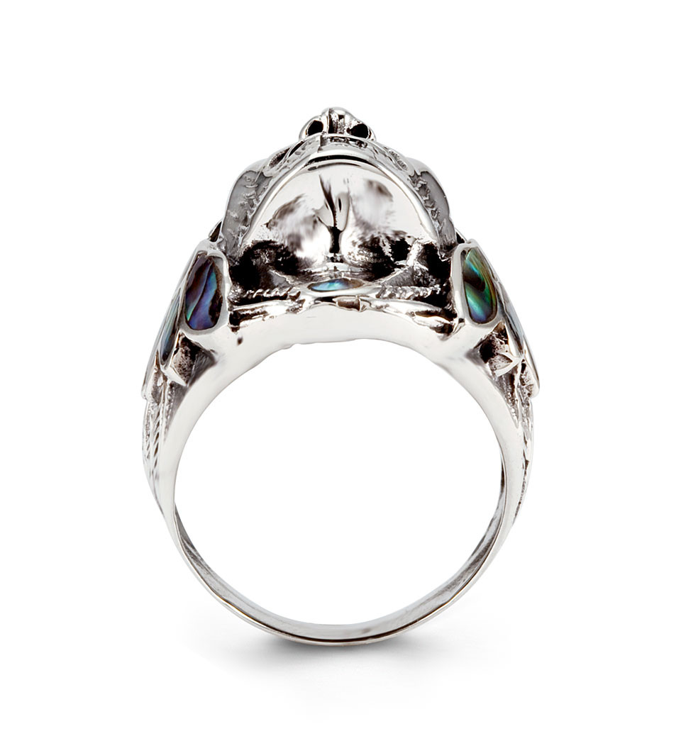 Lovely 925 Silver Abalone Native American Indian Chief Ring - Men's Rings  XX09