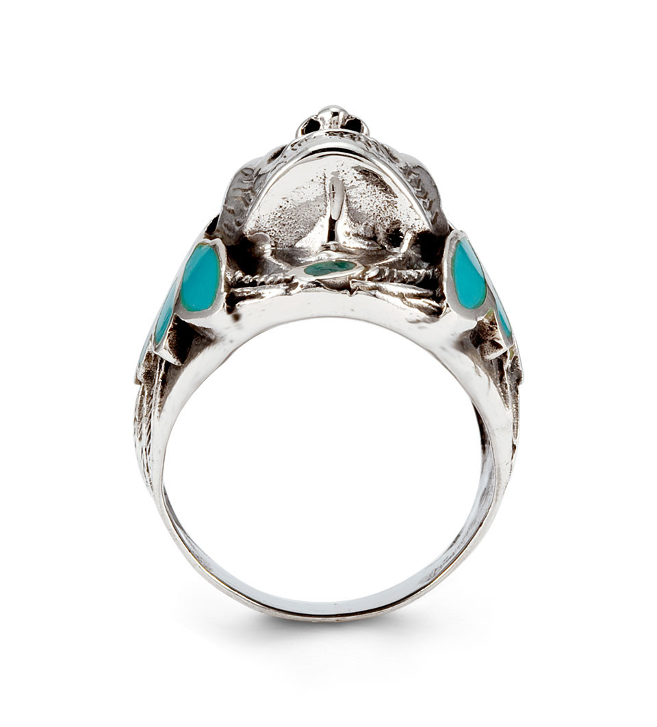 Teal Enamel 925 Silver Native American Indian Head Ring