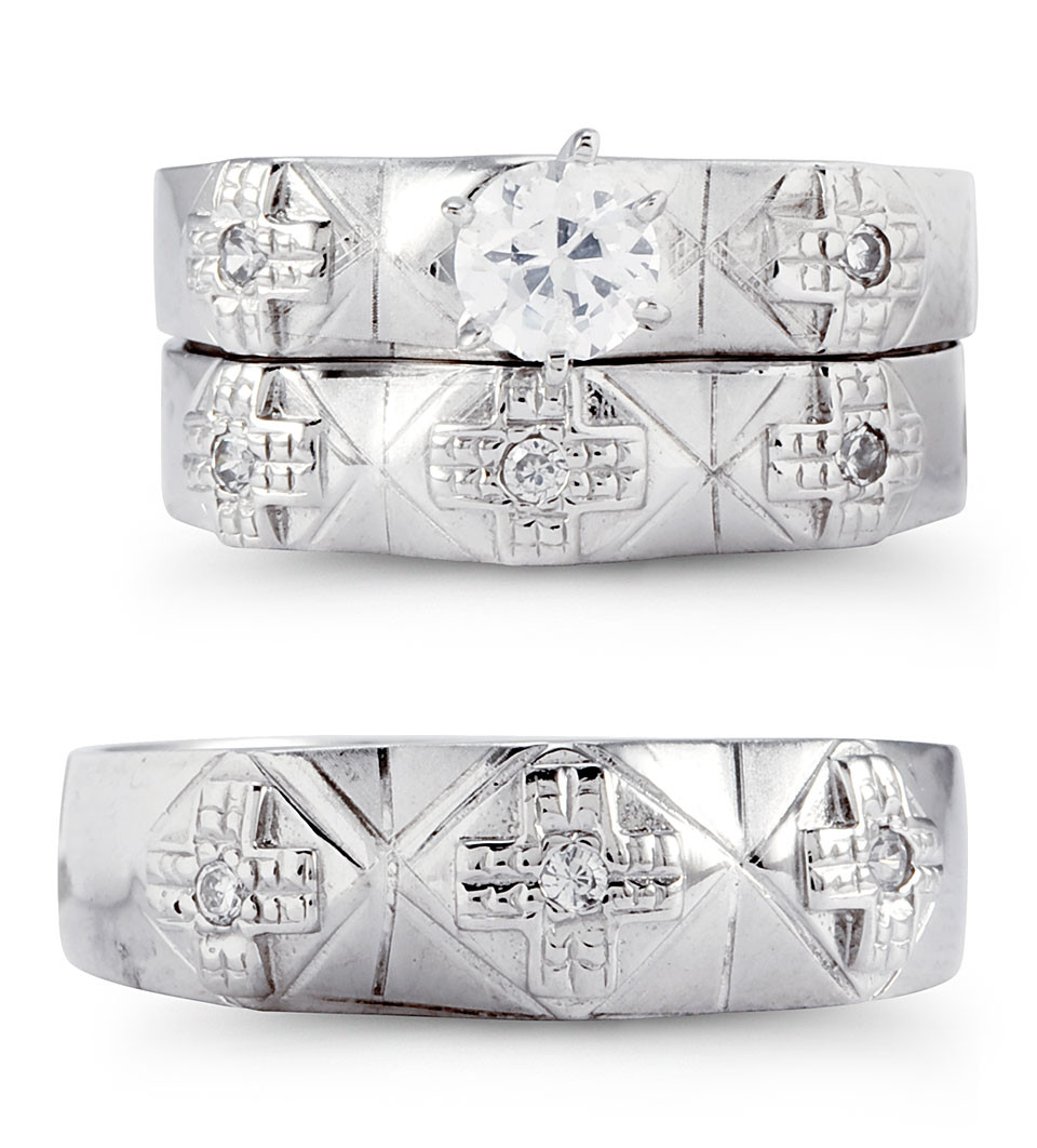 Solid 14k White Gold Multi Cross CZ Wedding Ring Trio
