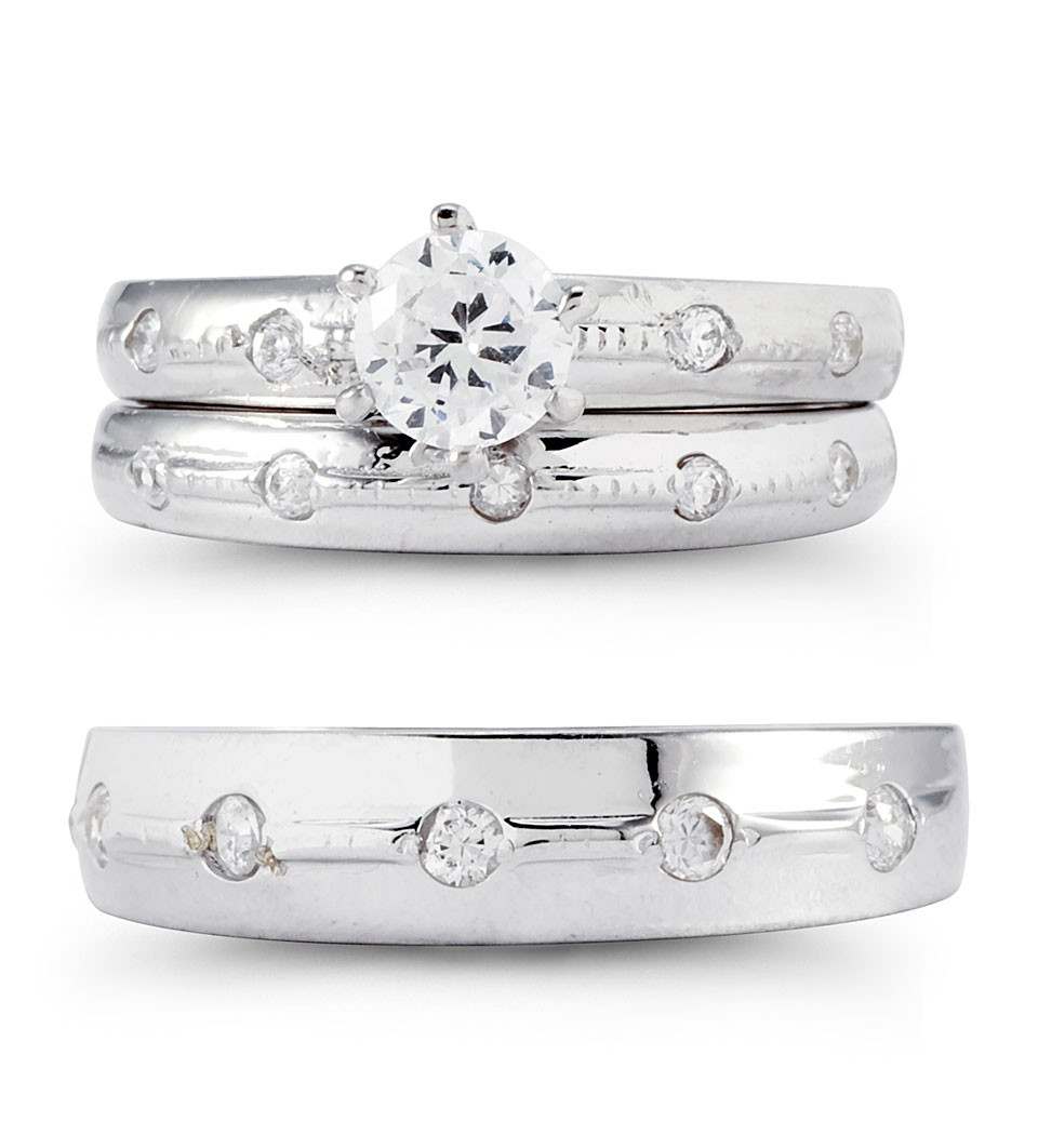 14k White Gold Solitaire Bezel CZ Wedding Rings Set Trio Sets