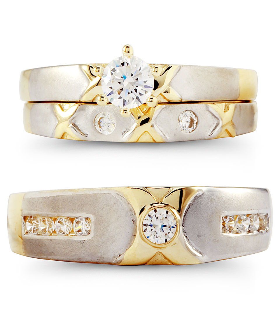 14k solid white yellow gold xo cz wedding rings trio wedding ring trio sets Express