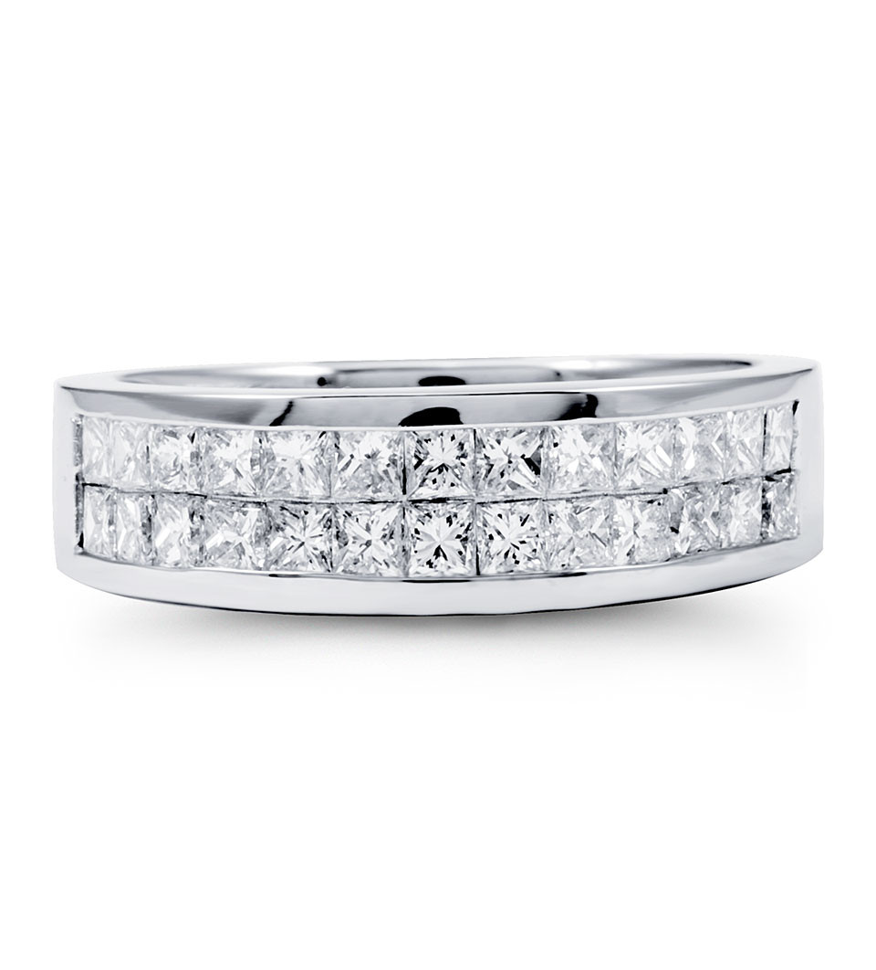 Solid 14K White Gold Double Row Princess Diamond Ring