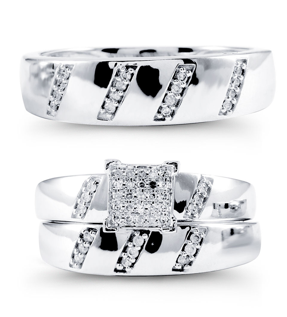 14k white gold polished round diamond wedding ring trio wedding ring trio sets Class and artistic design makes this 14K white gold wedding ring trio set