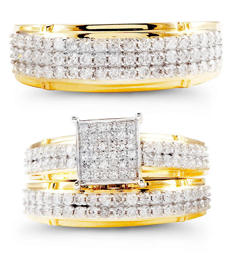14k yellow gold fancy round diamond wedding rings trio wedding ring trio sets Embrace