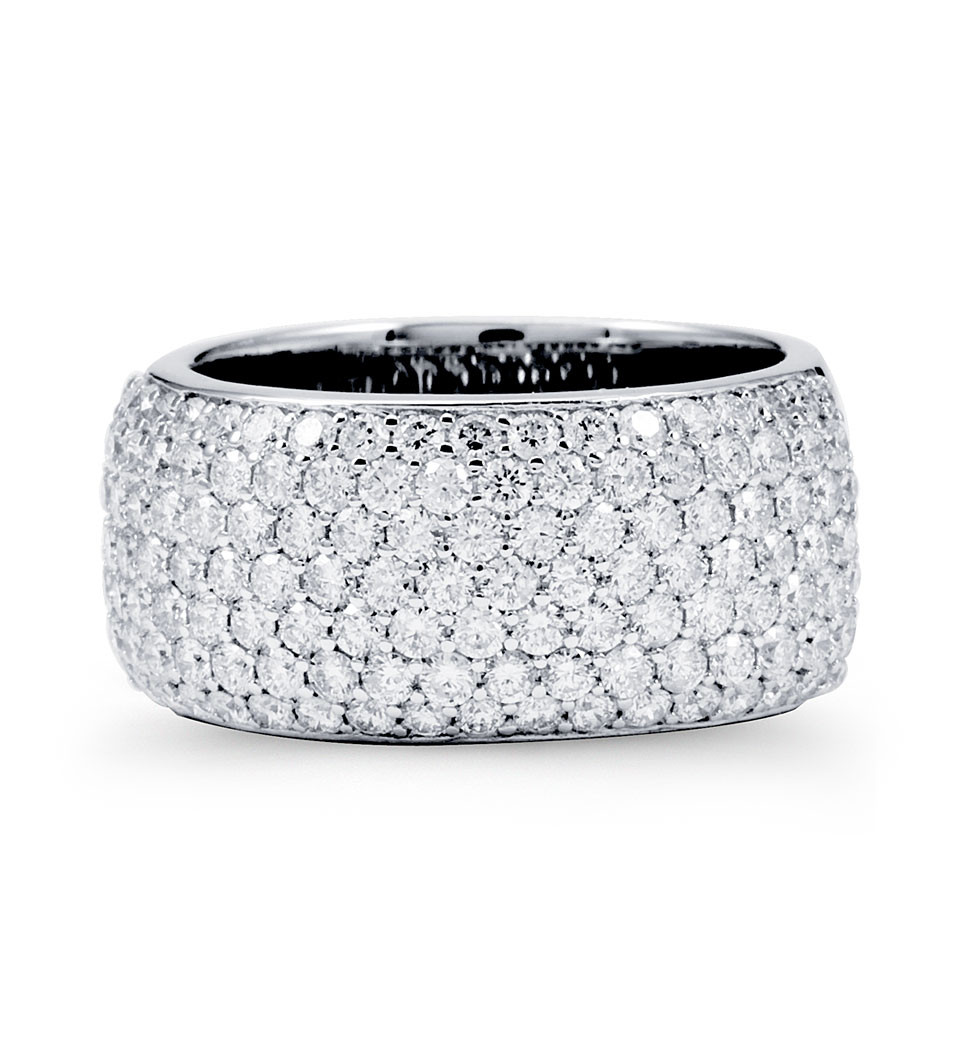 Pave Diamond Fashion Rings Round Diamonds are pave set