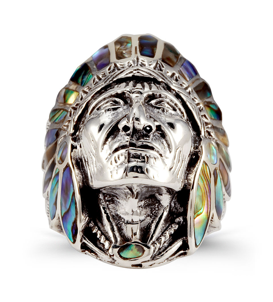 native american wedding rings native american wedding rings Native american wedding rings Silver Abalone Native American Indian Chief Ring Men S Rings