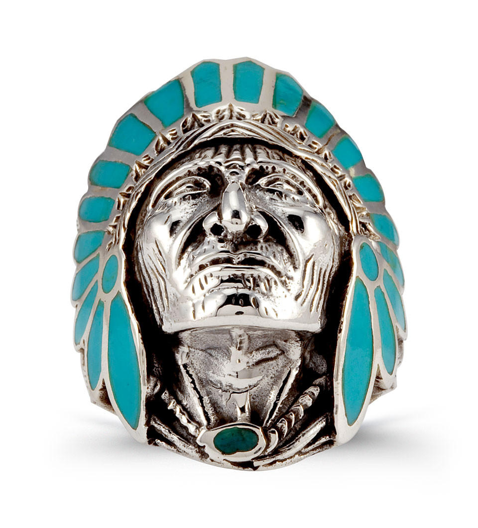 Wedding Rings For Men India: Teal Enamel 925 Silver Native American Indian Head Ring