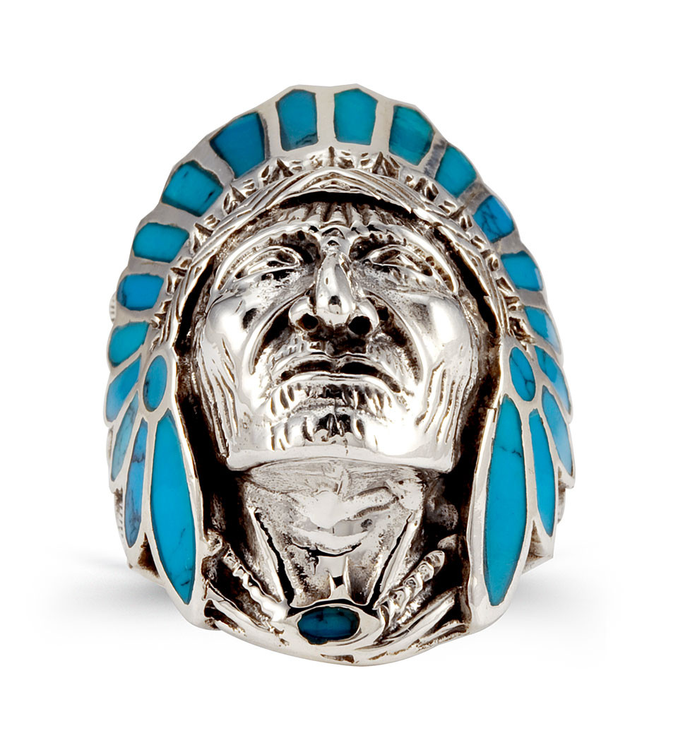 Wedding Rings For Men India: Turquoise 925 Silver Native American Indian Head Ring