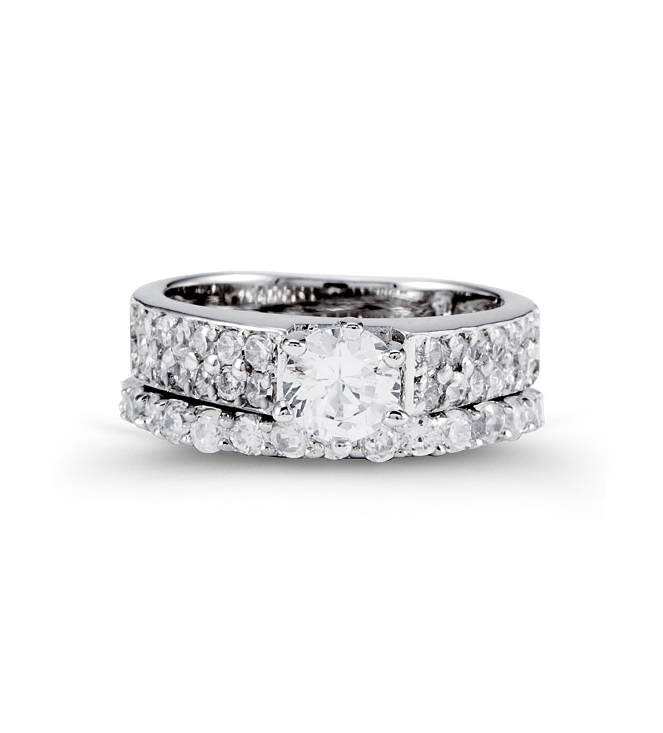 new silver double row cz engagement ring band set wedding ring band Purchase this gorgeous wedding band