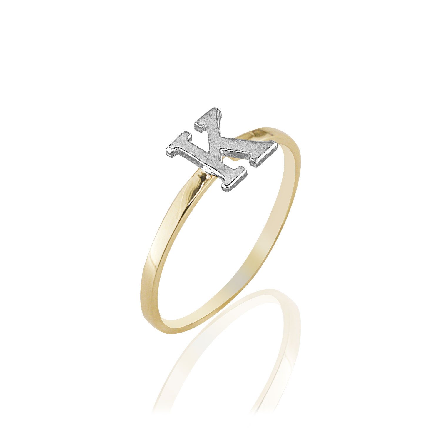 14k yellow white two tone letter k initial name ladies for Letter e ring