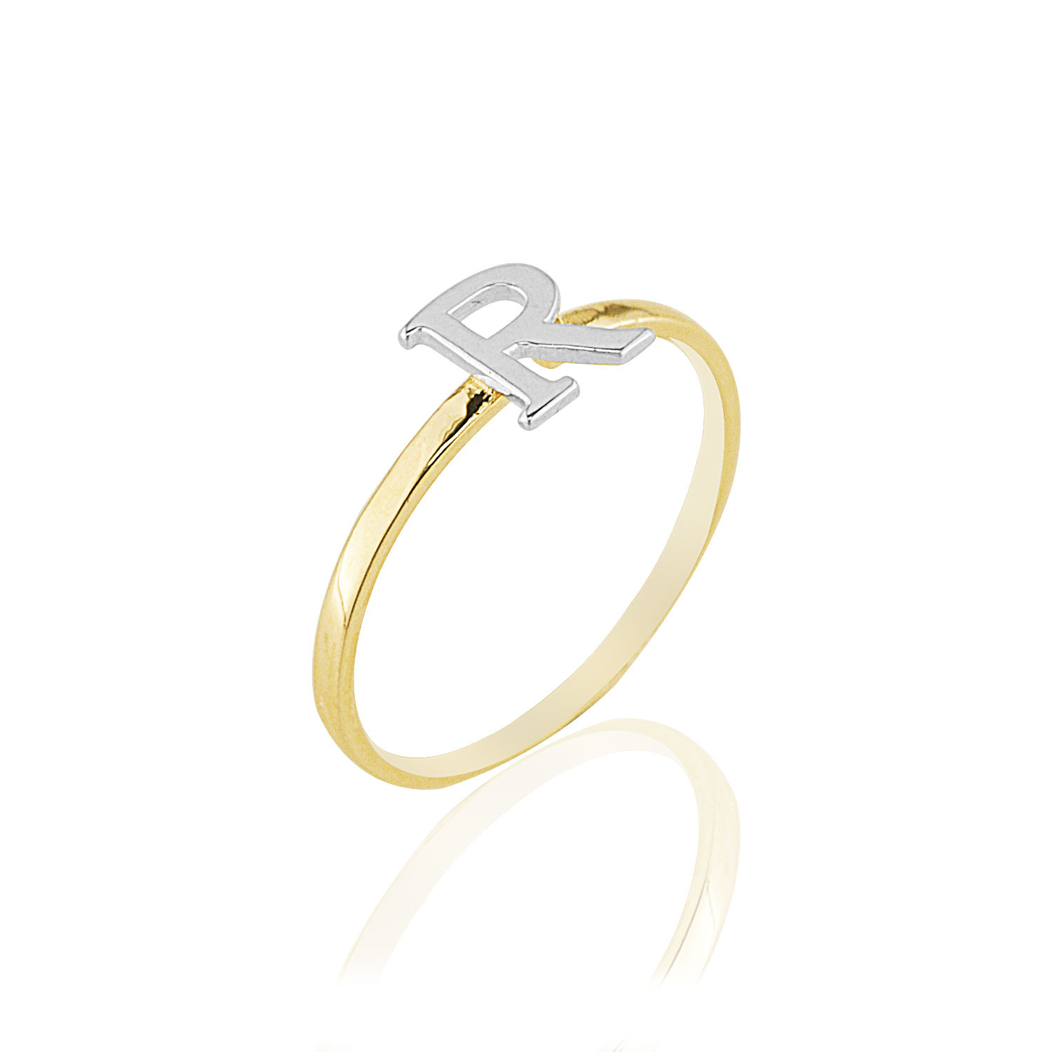 14k yellow white two tone letter r initial name ladies ring discover thecheapjerseys Gallery