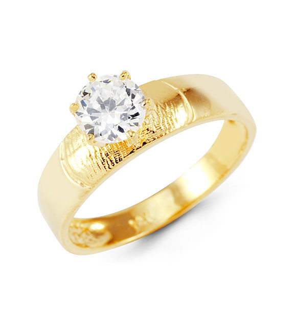 14k Yellow Gold Round CZ Solitaire Engagement Band Ring Bridal