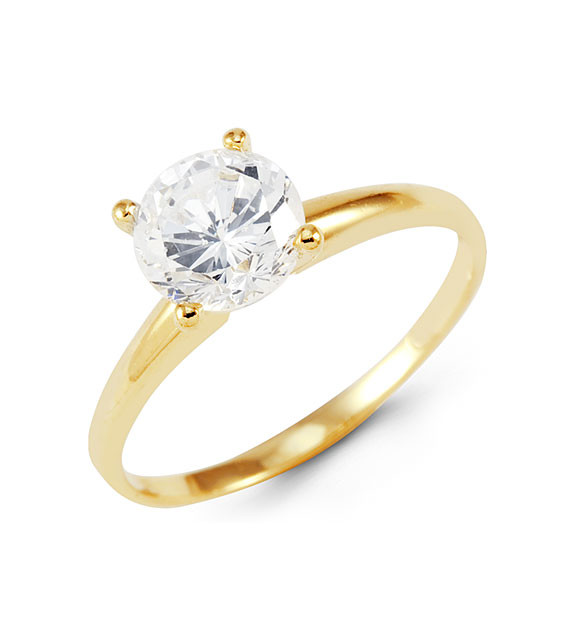 14k Yellow Gold Band Round CZ Engagement Solitaire Ring