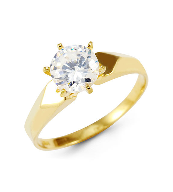14k Yellow Gold Round Solitaire CZ Heart Love Band Ring