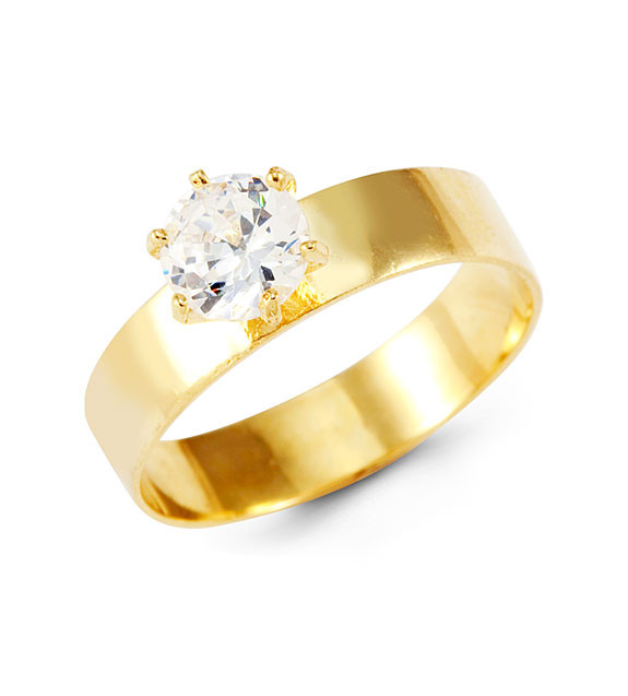 14k Yellow Gold Wide Band Round CZ Solitaire Ring